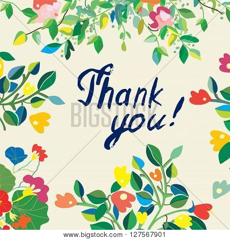 Thank you floral nice card. Cute design of vector illustration for the wedding birthday or invitation.