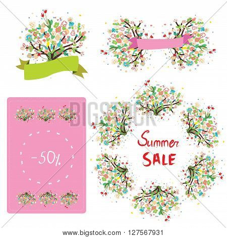 Floral set for the sale and promotion. Vector illustrations design cute and trendy.