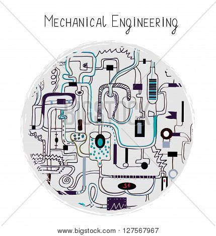 Mechanical engineering abstract background for the card. Vector illustration handdrawn sketchy style.