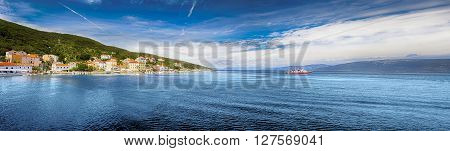 Panorama view to the village Valun with harbor and boats Cres island Croatia