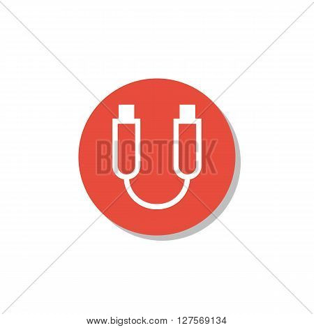 Usb Cable Icon In Vector Format. Premium Quality Usb Cable Symbol. Web Graphic Usb Cable Sign On Red