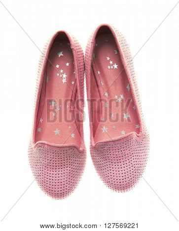 Pink ballet flats for girls, isolated on white