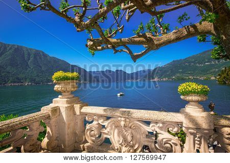 VILLA BALBIANELLO ITALY - May 17 2015 - Beautiful view to Como lake and Alps from terrace Villa Balbianello Italy. Villa was used for several films scene like Casino Royale and Star Wars.