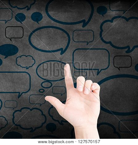 Communication with speech bubbles and a hand