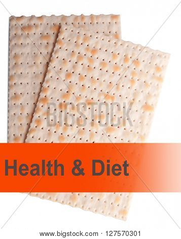 Matzo for Passover isolated on white. Health and diet concept