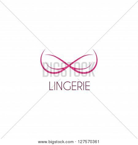 Vector template of logo of lingerie. Logotype of female underwear in the form of silhouette of bra. Label of boutique.