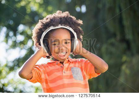 boy is listening music