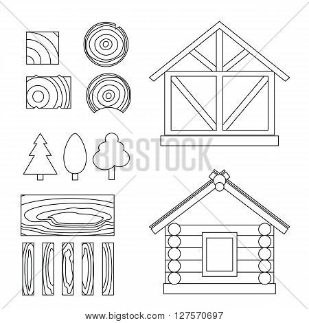 Vector line set of wood house tip and  constuction material