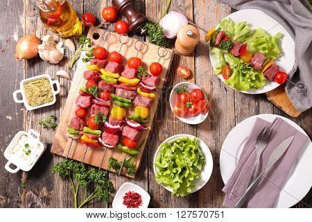 raw beef,barbecue meal