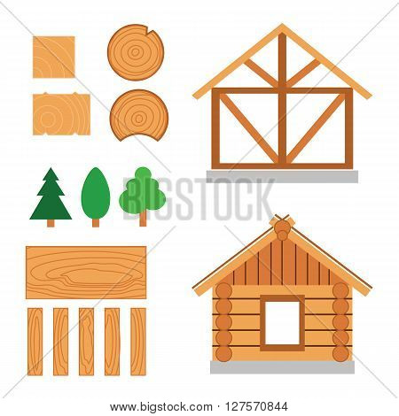 Vector color set of wood house tip and  constuction material. Traditional wood  house and timber materials - log, beam, lumber.