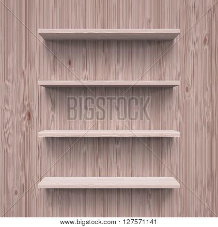 Four horizontal wooden bookshelves. Realistic illustration for design.