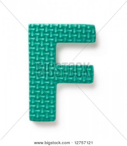 Letter F isolated on the white background
