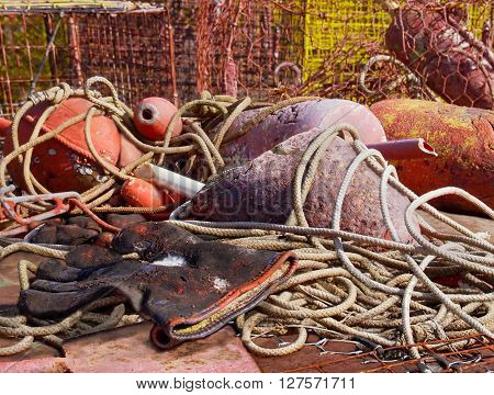 A pair of dirty old work gloves for painting is discarded among a pile of ropes fishing buoys and crab pots.