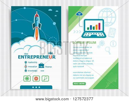 Entrepreneur and concept background with rocket. Project Entrepreneur concepts and Set of Banners. Vector Illustration. Eps10 Format.