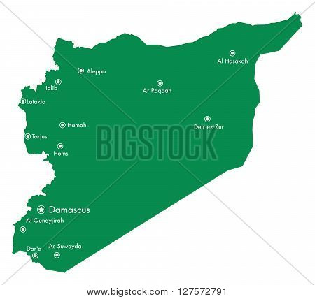 Map of Syria with Cities in the Middle East