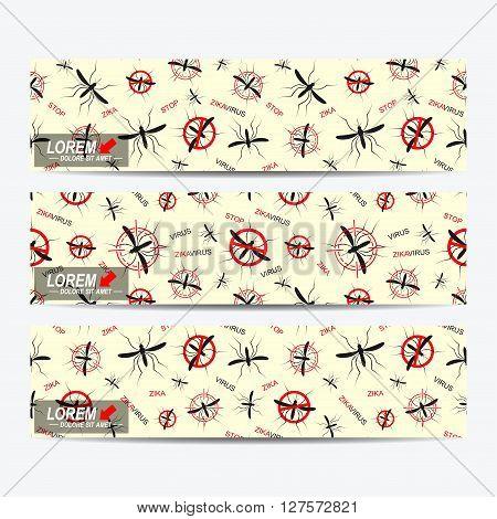Zika virus of vector banners. Zika virus background . Web banners, card, vip, certificate. gift. Aedes Aegypti pattern. Zika mosquito vector illustration.