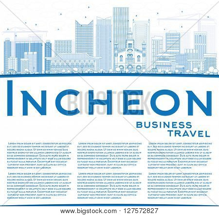 Outline Incheon Skyline with Blue Buildings and Copy Space. Vector Illustration. Business Travel and Tourism Concept with Modern Buildings. Image for Presentation Banner Placard and Web Site.