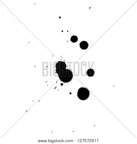 Artistic black paint hand made creative wet dirty ink or oil drop spots silhouette isolated on white background