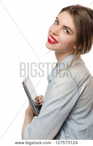 Pretty Woman With A Laptop Transformer On White Background