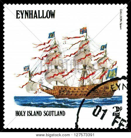 STAVROPOL RUSSIA - APRIL 09 2016: a stamp printed by Scotland shows old Sailing ship Galleon Spain circa 1984 .