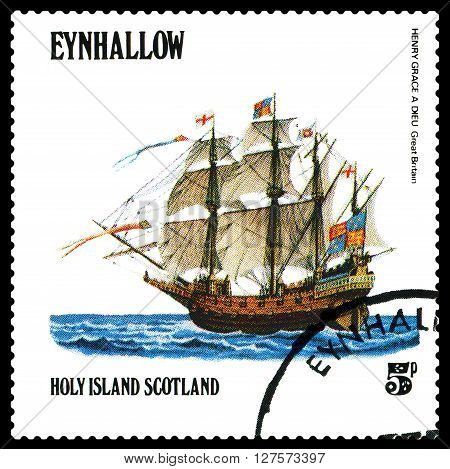 STAVROPOL RUSSIA - APRIL 09 2016: a stamp printed by Scotland shows old Sailing ship Henry Grace a Dieu Great Britain circa 1984 .