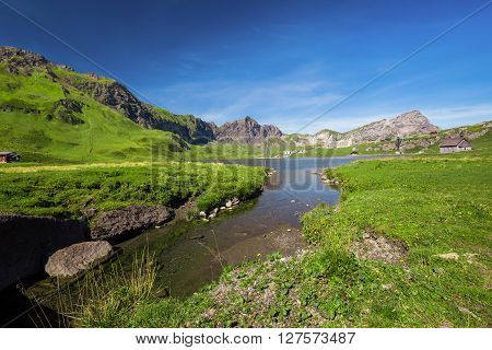 View to Melchsee Frutt and Swiss Alps panorama from Melchsee Frutt Switzerland Europe