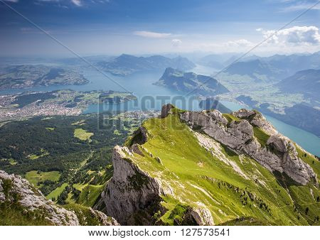 Beautiful view to Lucerne lake (Vierwaldstattersee) mountain Rigi and Buergerstock from Pilatus Swiss Alps Central Switzerland