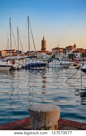 Yacht harbour in the evening, Rab Island, Croatia