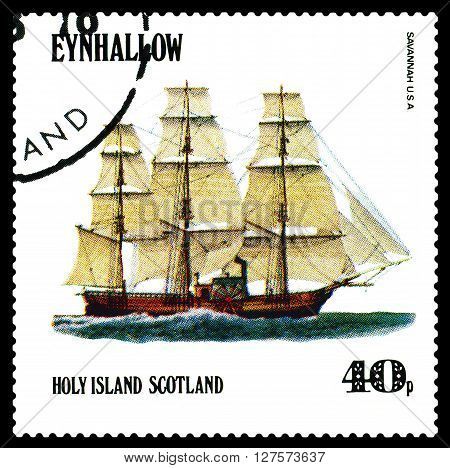 STAVROPOL RUSSIA - APRIL 09 2016: a stamp printed by Scotland shows old Sailing ship Savannan USA circa 1984 .