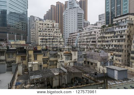 Facades of old apartment buildings in Hong Kong