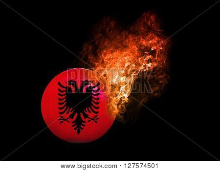 Flaming Football Ball on black background with team flags. Group A Albania
