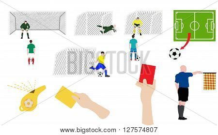 Flat design soccer football icons set spot kick