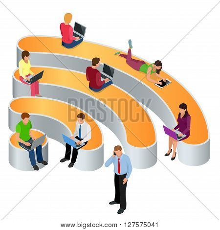 Public free Wi-Fi hotspot zone wireless connection. Social Networking Communication Concept. Isometric flat 3d vector illustrations