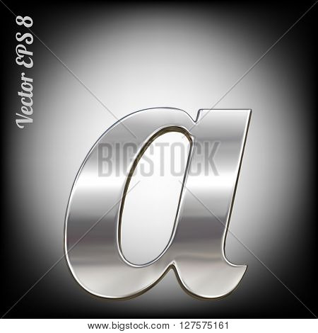 Vector letter a from metal alphabet. Lovercase metal font collection. EPS 8