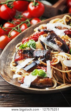 Italian Traditional Pasta With Eggplant Alla Norma
