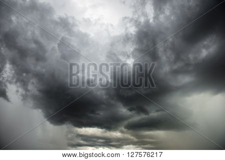 Dramatic storm cloudscape, with strange cloud shapes