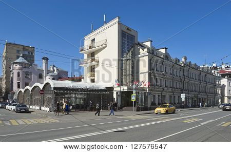 MOSCOW, RUSSIA - APRIL 12, 2016: View of the hotel Kebur Palace Ostozhenka street 32 building 1 on the left is the restaurant