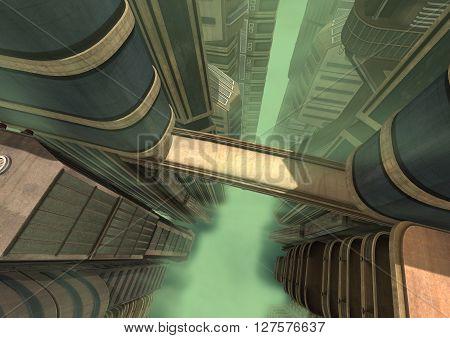 3D rendering of a futuristic city in a green fog