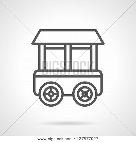 Shop on wheels. Grocery stall. Trolley for food and beverages trade. Simple black line vector icon. Single element for web design, mobile app.