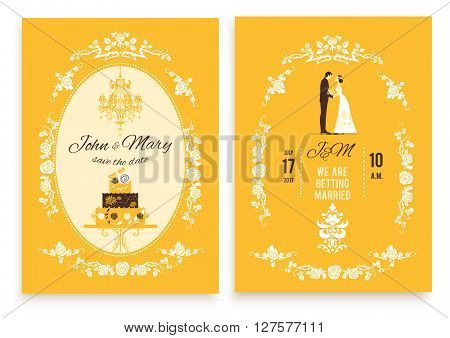 Wedding invitation card. Festive template for design banner, ticket, leaflet, card, poster, invitation  and so on. Save the date.