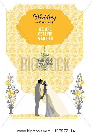 Yellow wedding card. Festive template for design banner, ticket, leaflet, card, poster, invitation  and so on.