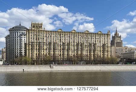 MOSCOW, RUSSIA - APRIL 24, 2016: Residential house for the general's structure built in 1955 in of the Stalinist Empire style Smolenskaya Naberezhnaya 5/13 in a building located in the Art Gallery of Smolenskaya Embankment