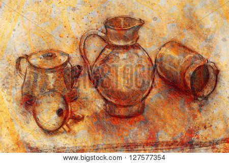 still life drawing. Original hand draw on paper. Teapot, jug, funnel and cans
