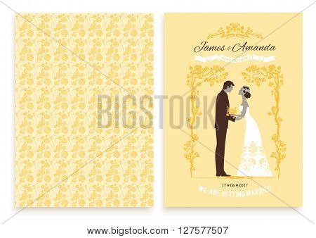 Yellow wedding invitation card. Festive template for design banner, ticket, leaflet, card, poster, invitation  and so on.