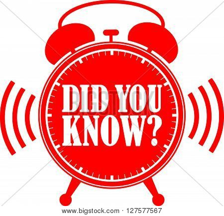 Did You Know Red Alarm Clock, Vector Illustration