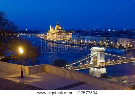 Budapest cityscape with famous landmarks as Chain Bridge and Parliament Building taken from Buda Castle, Budapest, Hungary
