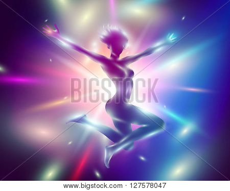 Vector illustration of slim jumping girl with hands up among the lights