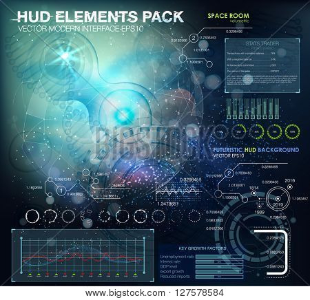 Science background with cells and DNA HUD.Life and biology, medicine scientific, bacteria, molecular research DNA. futuristic user interface. Futuristic HUD background.