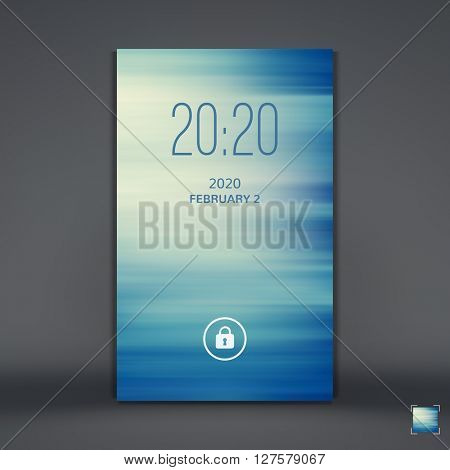 Modern Lock Screen for Mobile Apps. Mobile Wallpaper. Vector Illustration.