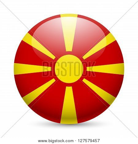 Flag of Macedonia as round glossy icon. Button with Macedonian flag